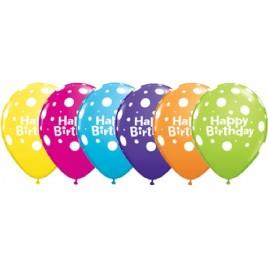 Multi Coloured Polka Dot Birthday 6Pk