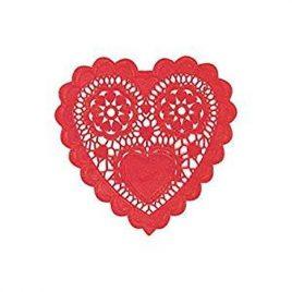 12pk Heart Doilies