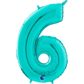 Teal Balloon Number 6