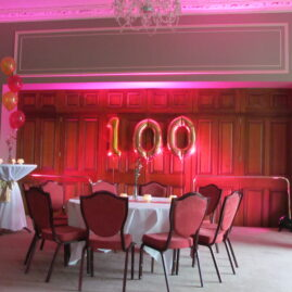 100th Bday Party Balloons and Decor