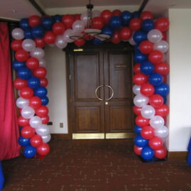American Flag themed indoor square arch