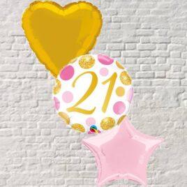 Gold/Pink Polka Dots 21st