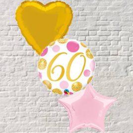 Gold/Pink Polka Dots 60th