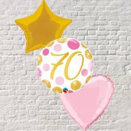 Gold/Pink Polka Dots 70th