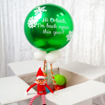 0750 Personalised Christmas Elf Green Orb Balloon in a Box
