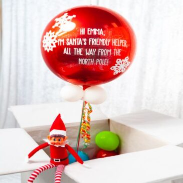 0751 Personalised Christmas Elf Red Orb Balloon in a box