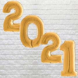 "9710 Large Gold Digit ""2021"" Balloons"