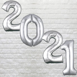 "9712 Large Silver Digit ""2021"" Balloons"