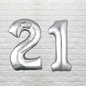 "9713 Large Silver Digit ""21"" Balloons"