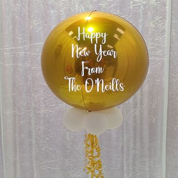 "9950 ""Happy New Year"" Personalised Gold Orbz Balloon"