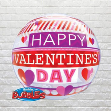 6203 Valentine Stripes Bubble Balloon