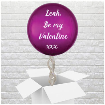 6402 Personalised Bright Pink Valentines Globe