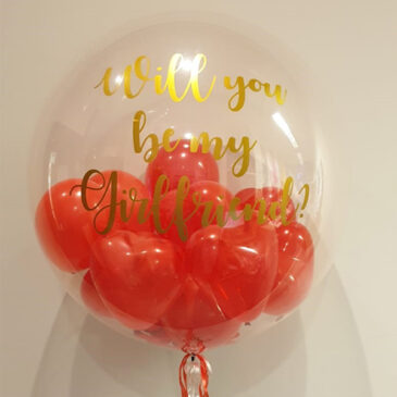 6411 Personalised Bubble with Red Mini Heart Balloons