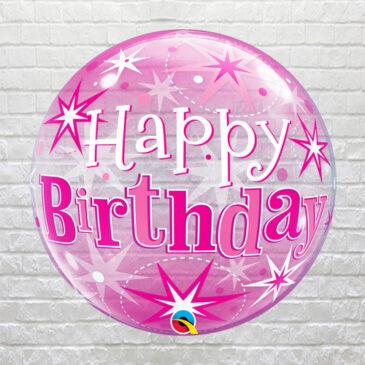 Pink Happy Birthday Bubble