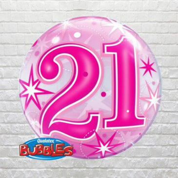 Pink 21st Birthday Bubble