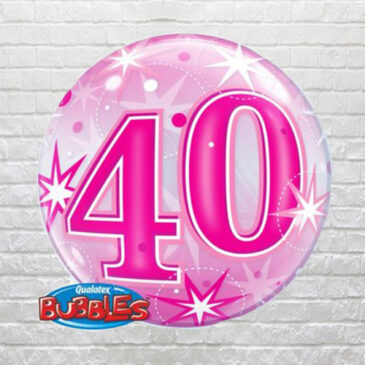 Pink 40th Birthday Bubble