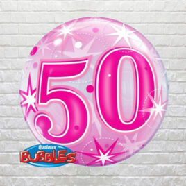 Pink 50th Birthday Bubble