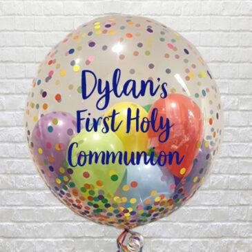 Personalised Multi Confetti Mini Balloons Bubble – Communion