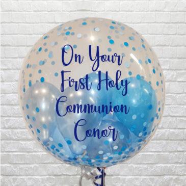 Personalised Blue Confetti Mini Balloons Bubble – Communion