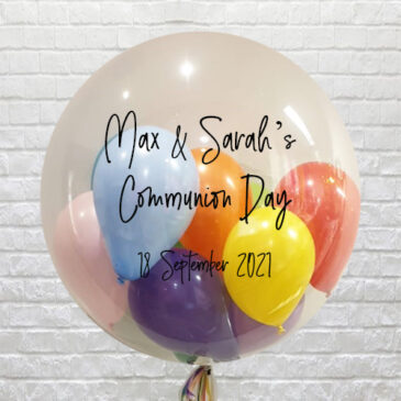 Personalised Clear Multi Mini Balloons Bubble – Communion