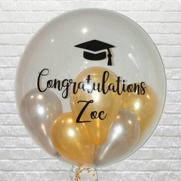Personalised Clear Silver/Gold Mini Balloons Bubble – Grad