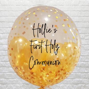 Personalised Gold Confetti Mini Balloons Bubble – Communion